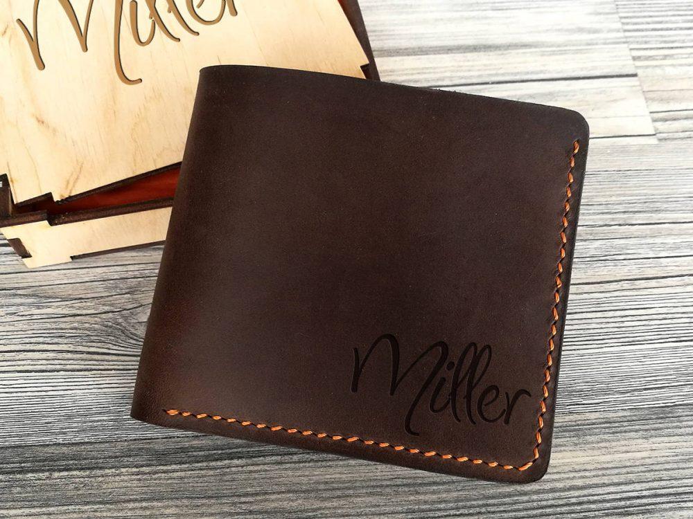 Персонализированное портмоне из натуральной кожи для мужчин
