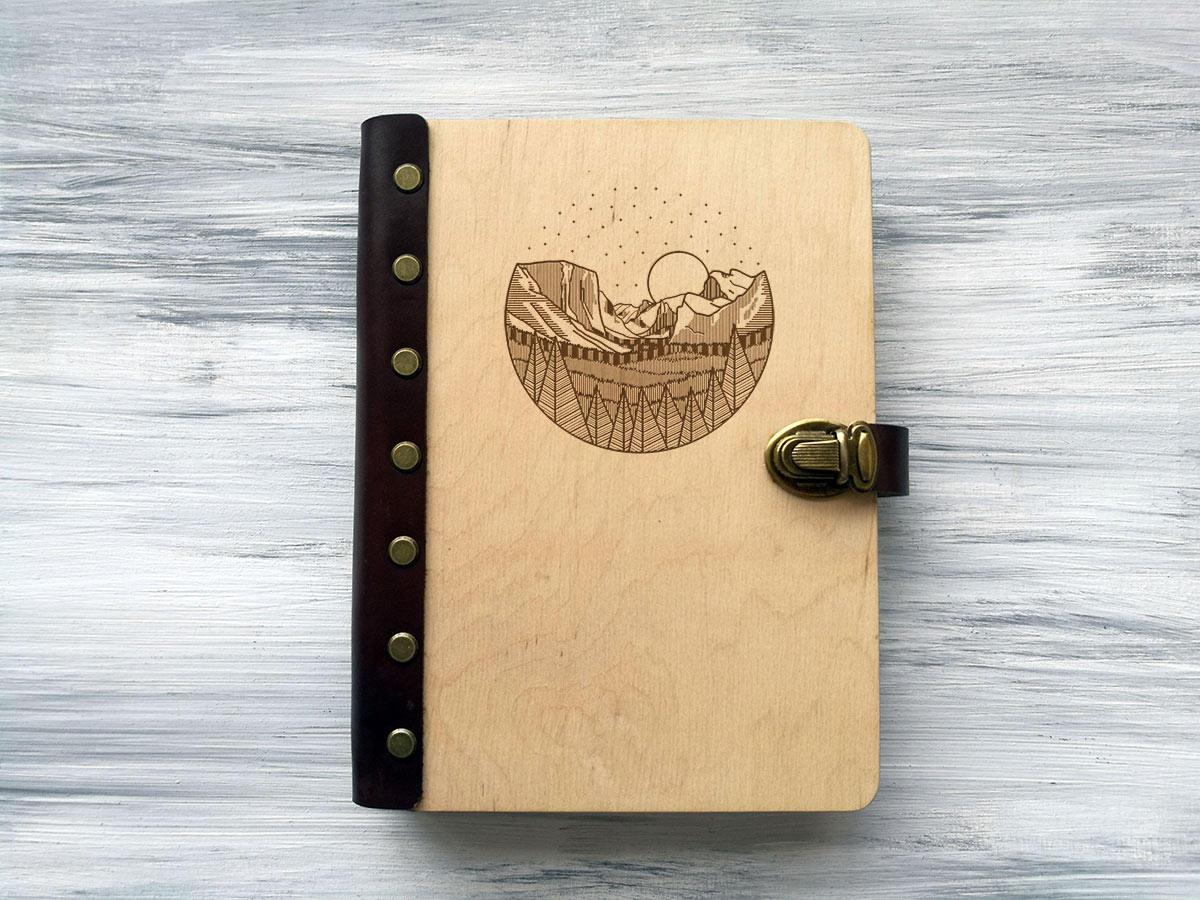 Блокнот «Пейзаж» А5 в деревянной обложке