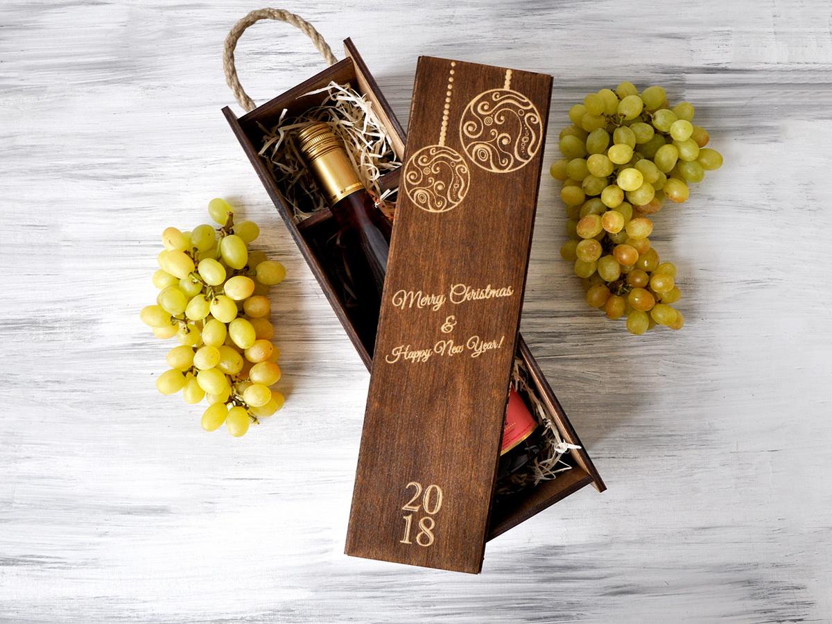 Винная коробка из дерева «Праздничные шары»