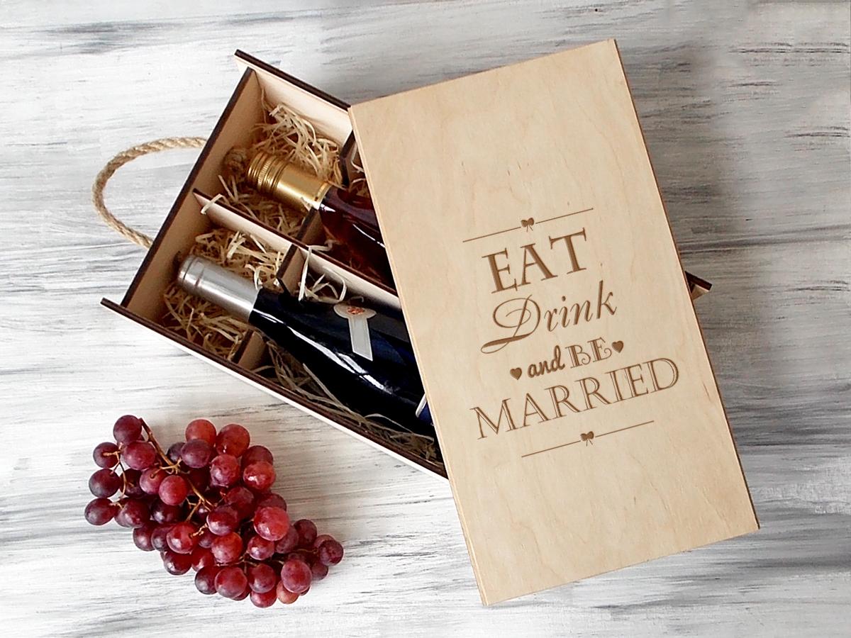 Деревянная винная коробка «Be married»