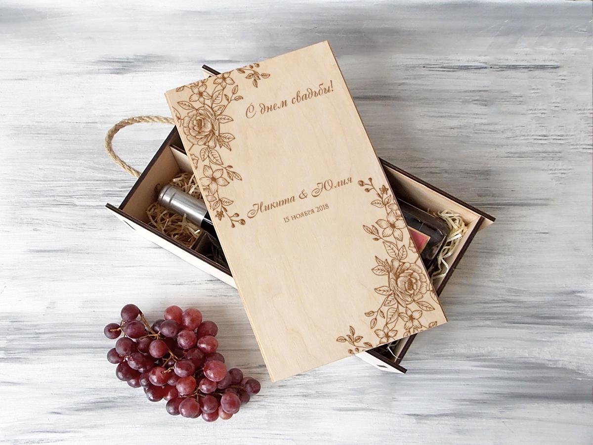 Деревянная коробка для вина «Цветы»