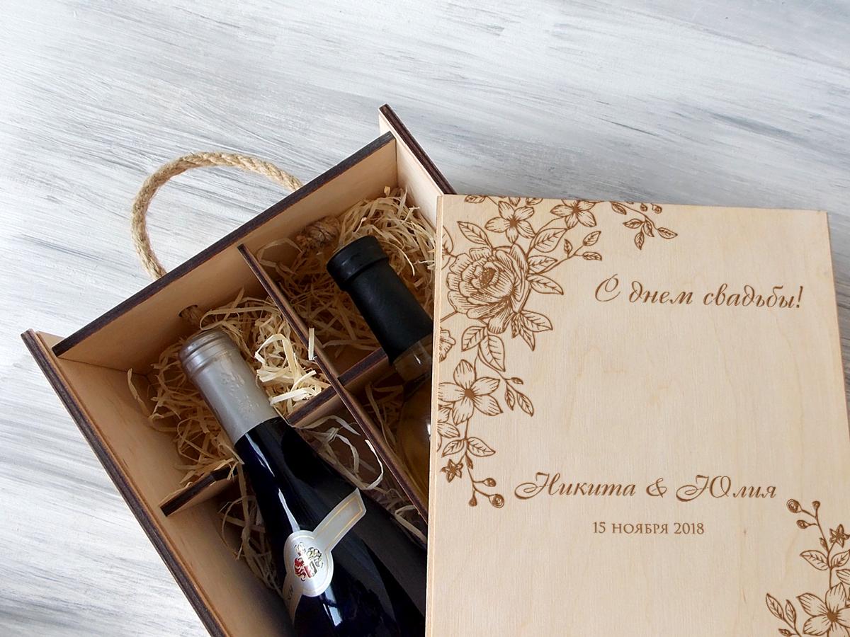 """Деревянная коробка для вина """"Цветы"""""""