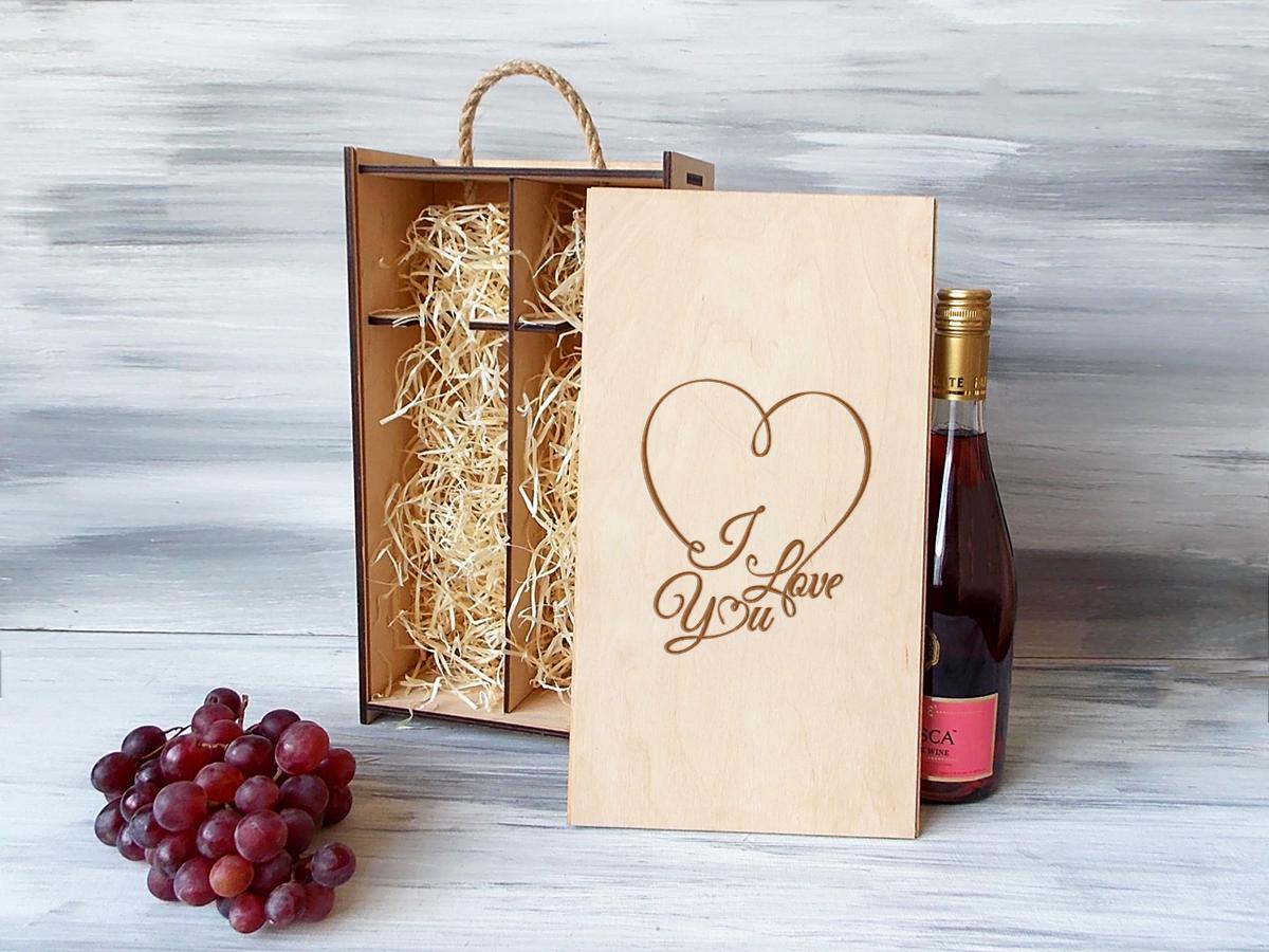 Коробка на 2 бутылки вина «I love you»