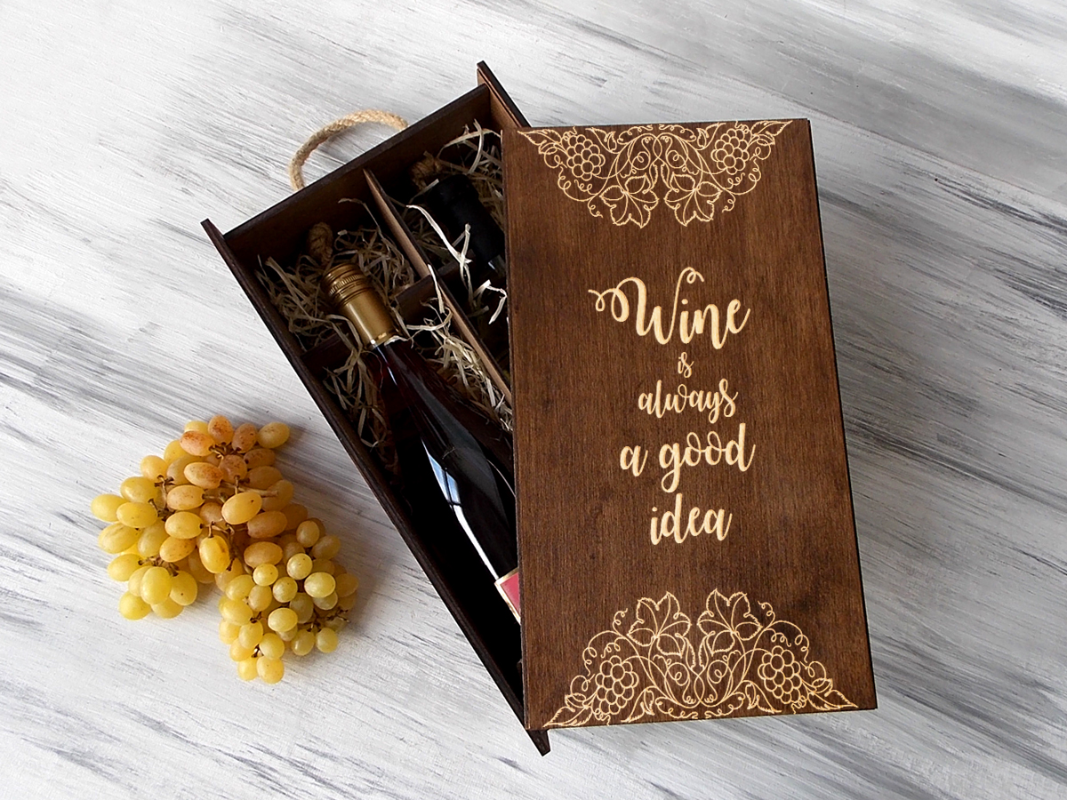 """Упаковка для вина с гравировкой """"Лоза"""""""