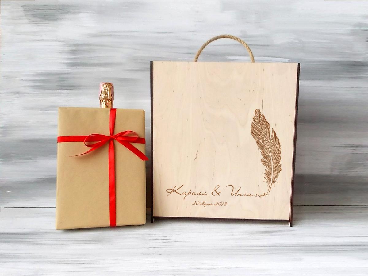 Подарочная деревянная коробка для вина «Перо»