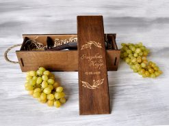 "Коробка для вина с гравировкой ""Веточки"""