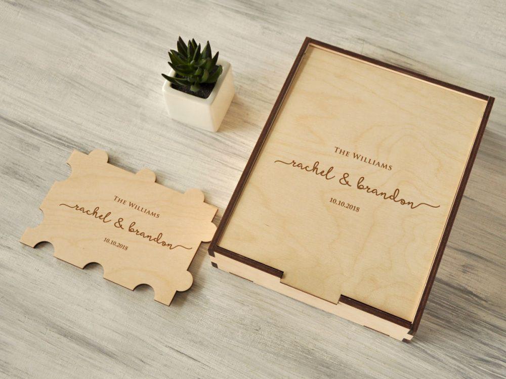 Альтернативная гостевая книга, деревянный пазл пожеланий на свадьбу