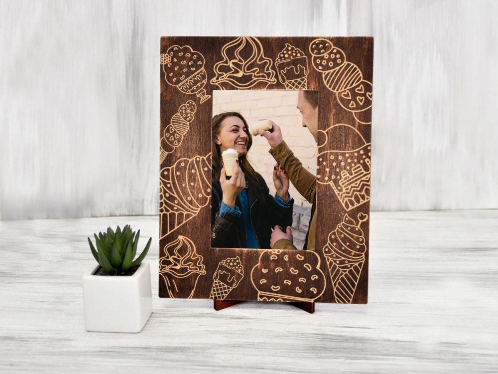 """Рамка из дерева для фотографий """"Мороженое"""""""