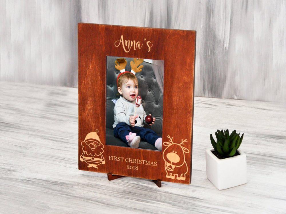 """Деревянная фоторамка для фотографии """"First Christmas"""""""