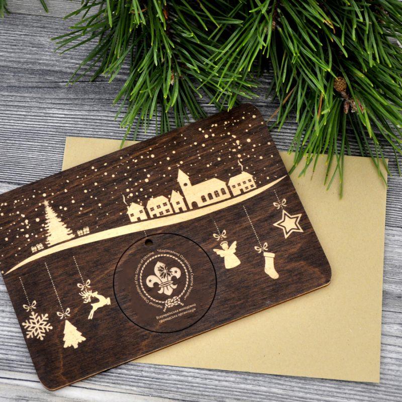 Брендированная деревянная открытка
