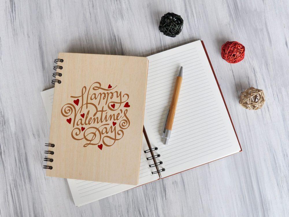 Деревянный блокнот «День Святого Валентина»