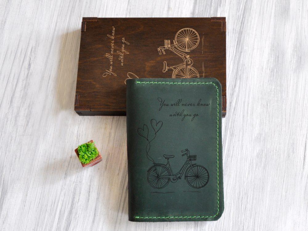 Кожаный женский органайзер «Велосипед» подарок девушке на праздник