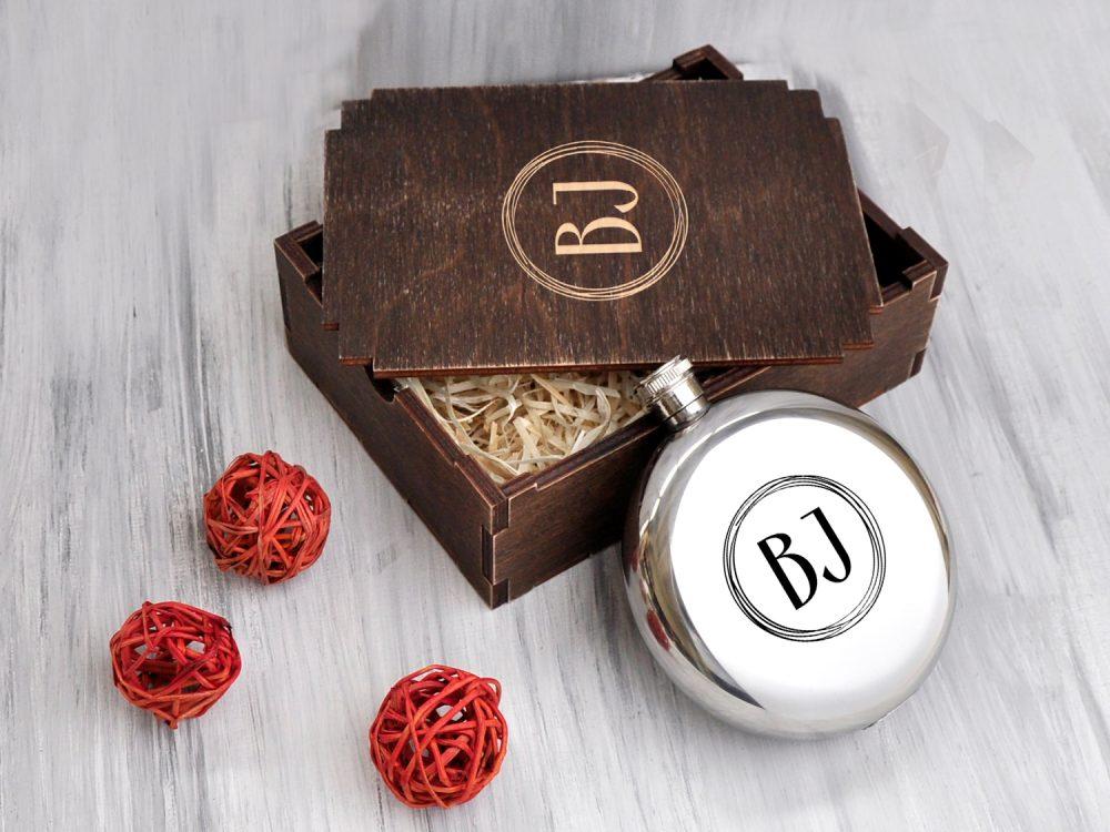 Металлическая круглая фляга с вашими инициалами, корпоративный подарок на Новый год