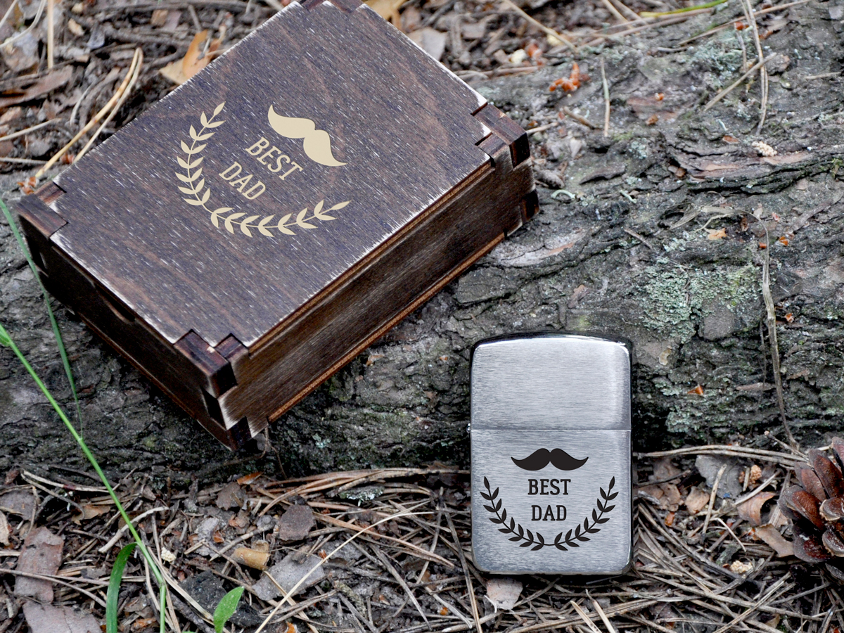 Зажигалка Zippo в подарок парню, мужу, другу в деревянной коробке с индивидуальной бесплатной гравировкой