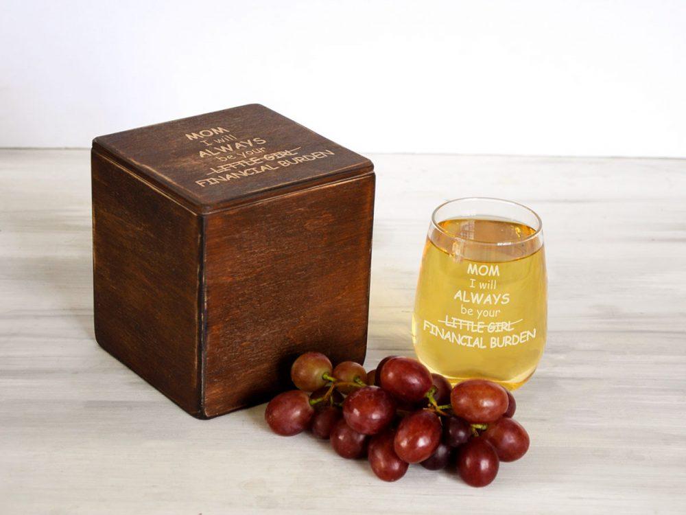 Стильный стеклянный стакан для вина с бесплатным нанесение надписи на подарок маме