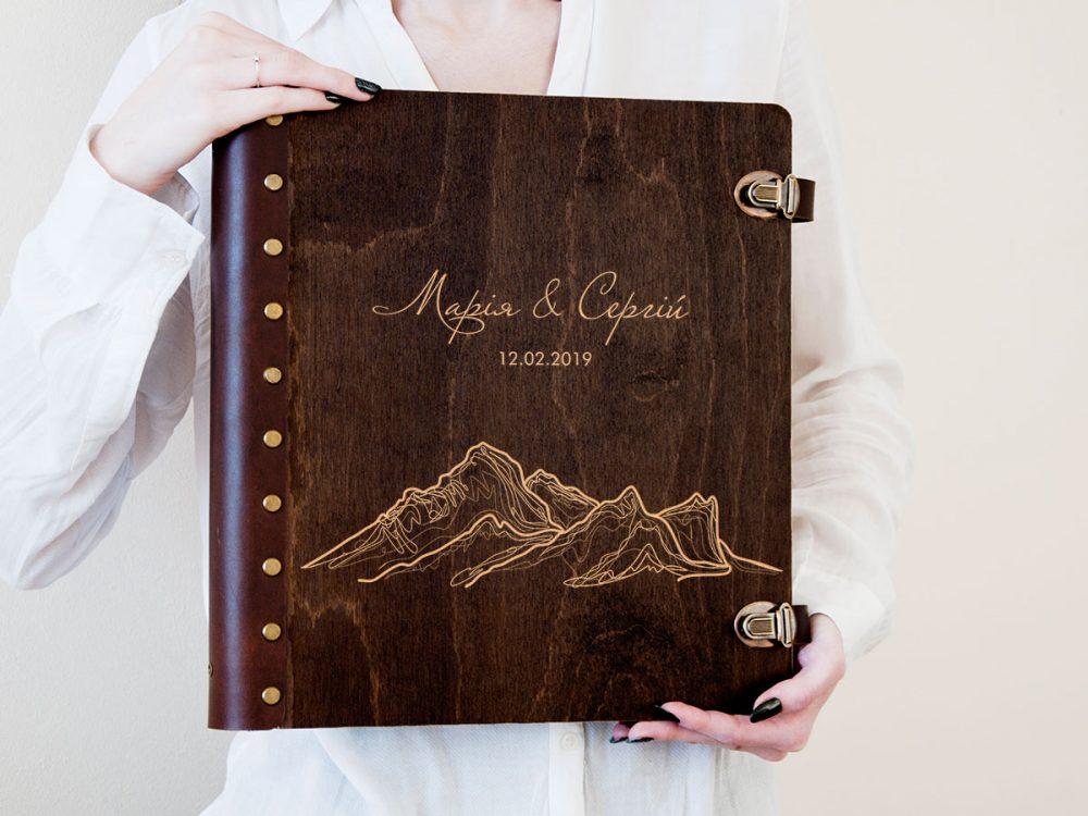 Свадебный альбом для фотографий с индивидуальной гравировкой «Горы» с магнитными страницами, подарок на годовщину