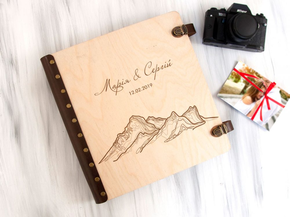 """Свадебный альбом для фотографий с индивидуальной гравировкой """"Горы"""" с магнитными страницами, подарок на годовщину"""