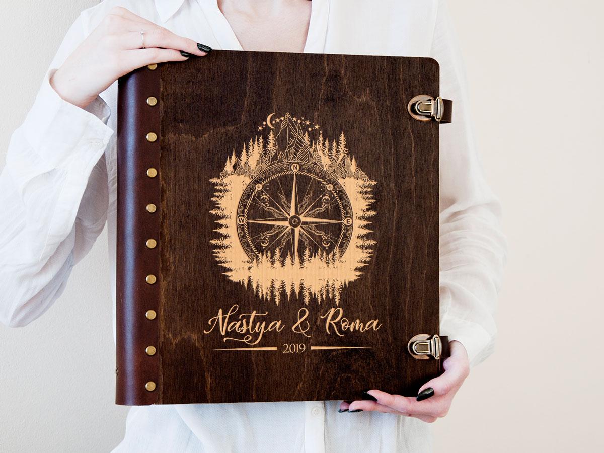 Подарочный альбом для фотографий с магнитными листами «Компас», подарок на свадьбу для жениха и невесты