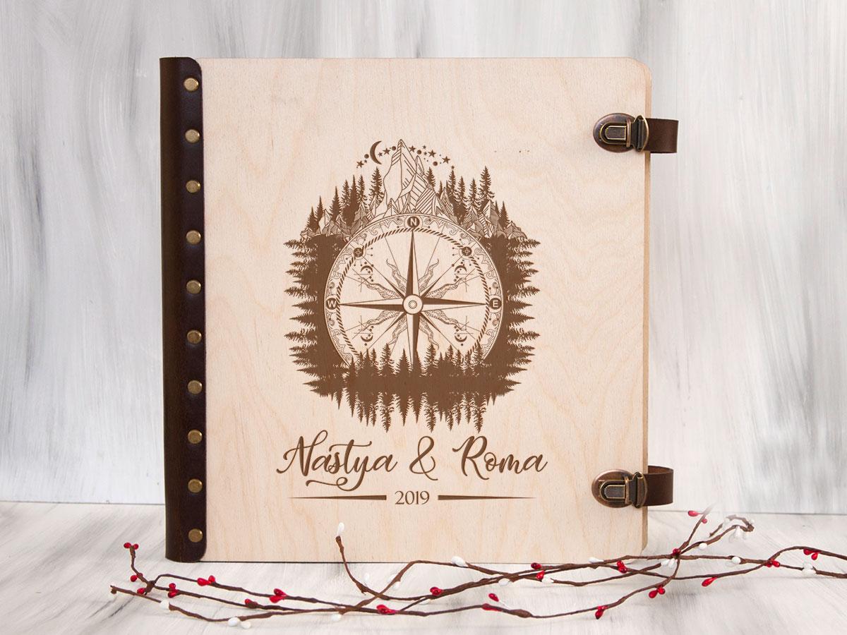 """Подарочный альбом для фотографий с магнитными листами """"Компас"""", подарок на свадьбу для жениха и невесты"""