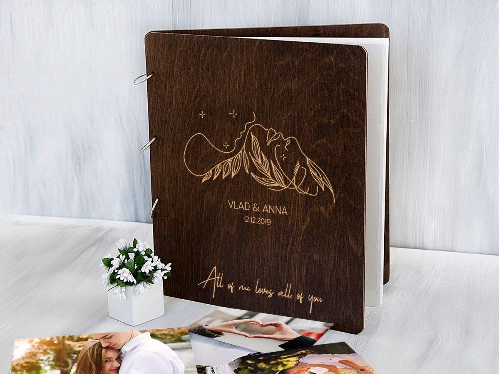 Персонализированный деревяный альбом для фотографий с магнитными листами «Поцелуй», подарок на свадьбу или семейный праздник