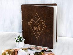 Деревянный свадебный фотоальбом с магнитными листами «Руки», персонализированная гравировка, подарок на свадебный юбилей.