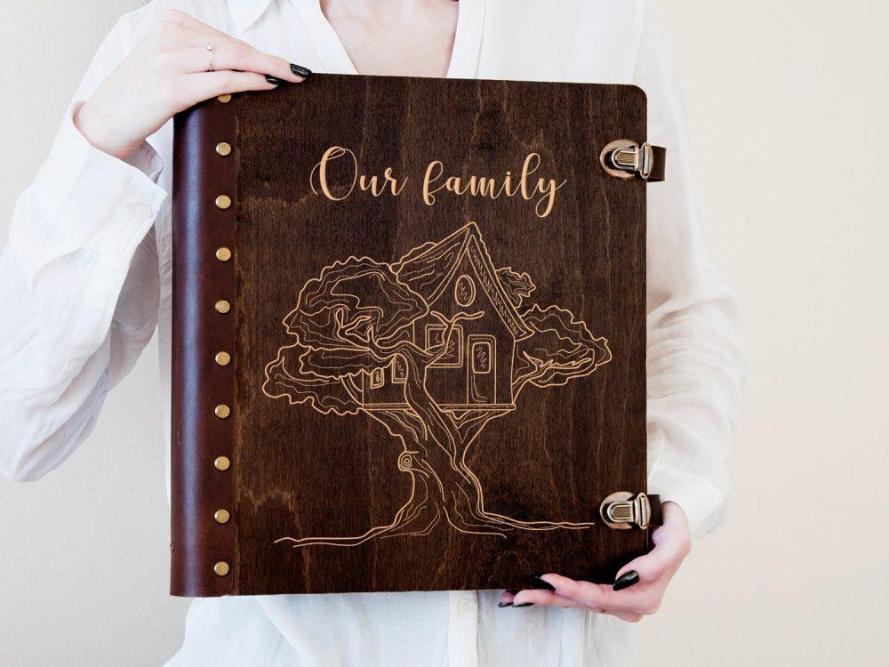 Персонализированный деревянный альбом для фотографий с магнитными листами «Our family», подарок на свадьбу
