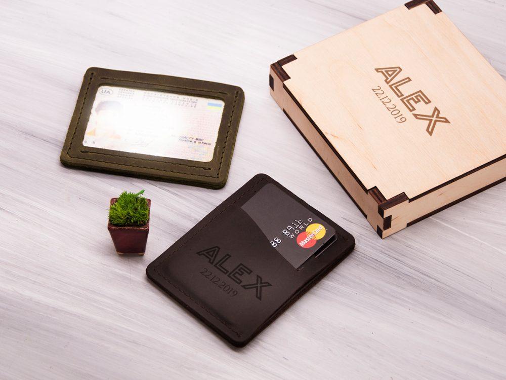 Персонализированый кардхолдер с отделением для прав или ID паспорта и гравировкой
