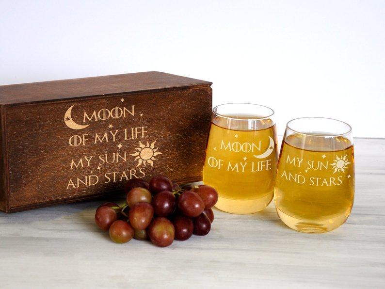 """Набор винных бокалов с гравировкой """"Игра престолов"""", подарок на юбилей"""