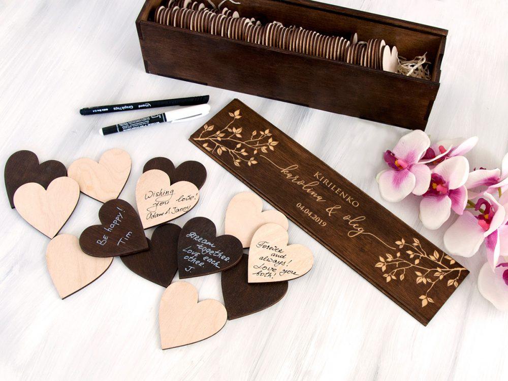 """Альтернативная свадебная гостевая книга, деревянные сердечки с гравировкой """"Веточки"""""""