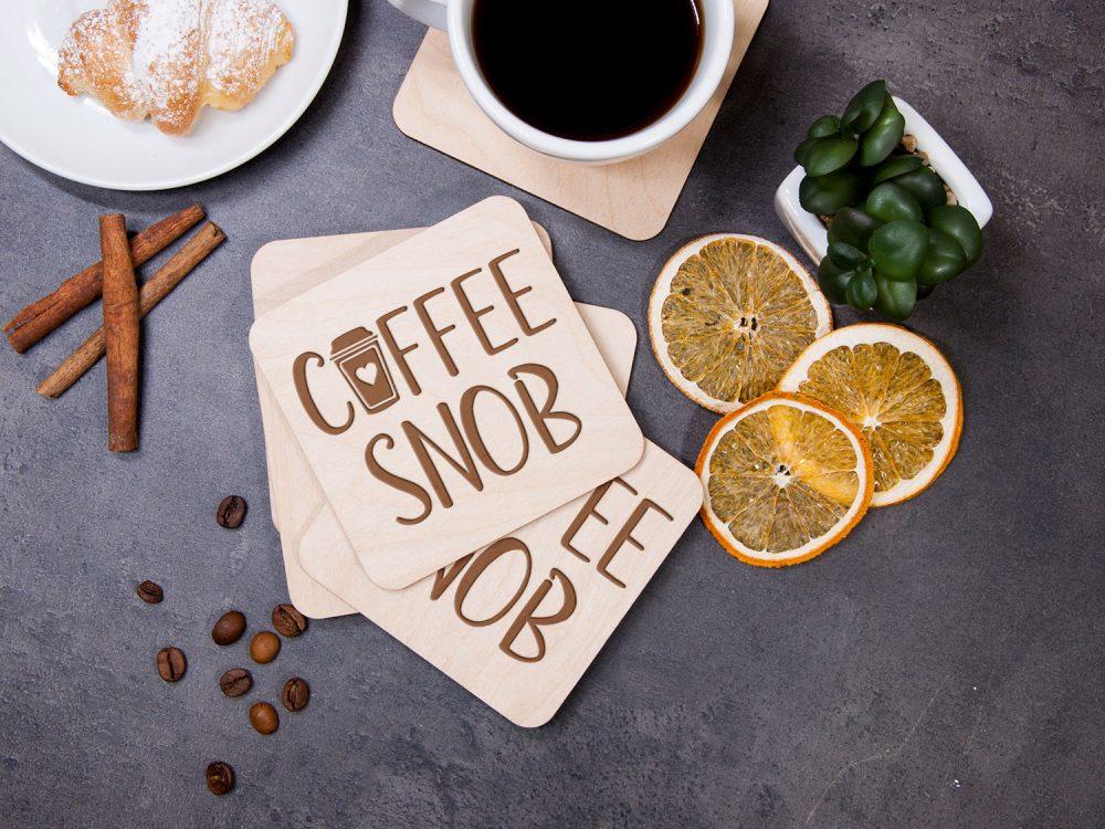 """Набор подставок для горячего """"Coffee snob"""" с лазерной гравировкой, подарок на новоселье"""