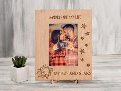 Фоторамка с гравировкой «Moon of my life» из натурального дерева, подарок для влюбленных