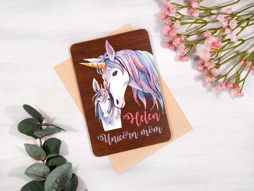 """Подарочная открытка с цветной печатью из дерева """"Единороги"""""""