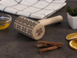 """Узорная скалка для раскатки теста из натурального дерева """"Вышиванка"""""""
