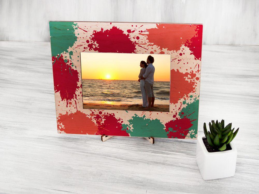 """Деревенская рамка для фотографий с цветной печатью """"Кляксы"""""""