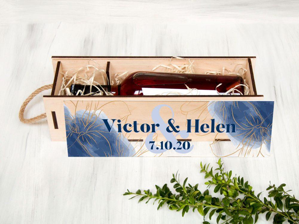 """Деревянная винная коробка с акриловой крышкой """"Синие облака"""""""