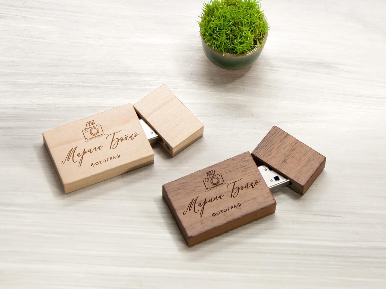 Свадебная USB флешка с персональной гравировкой фамилии и имени