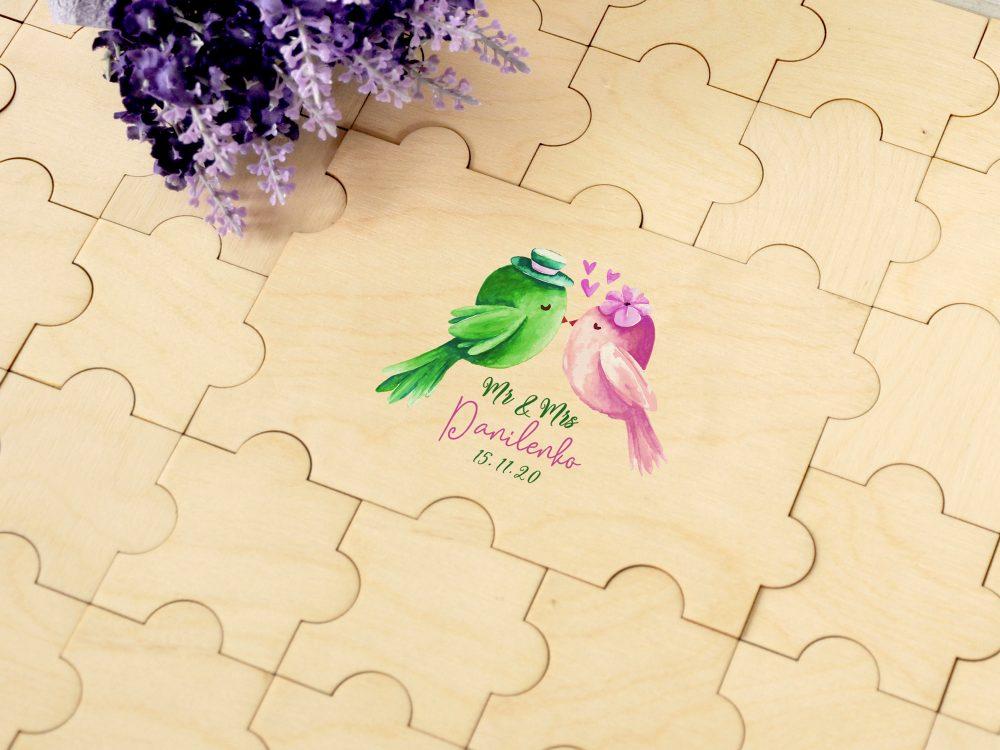"""Книга-пазл для пожеланий от гостей """"Love Birds """" с цветной печатью"""