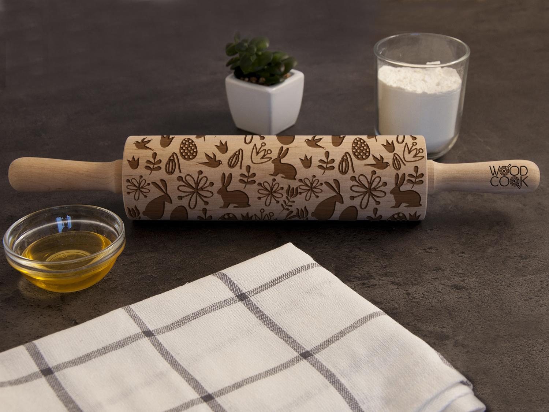 """Ролик деревянный для выпечки """"Зайцы"""""""