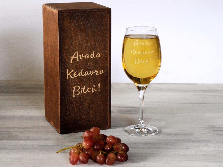 Бокал для вина с принтом Avada Kedavra Bitch!