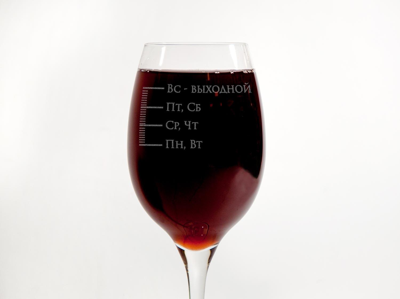 Винный бокал для красного и белого вина с оригинальной гравировкой