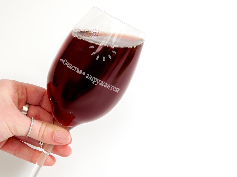 6Стеклянный бокал для вина с гравировкой в деревянной коробке