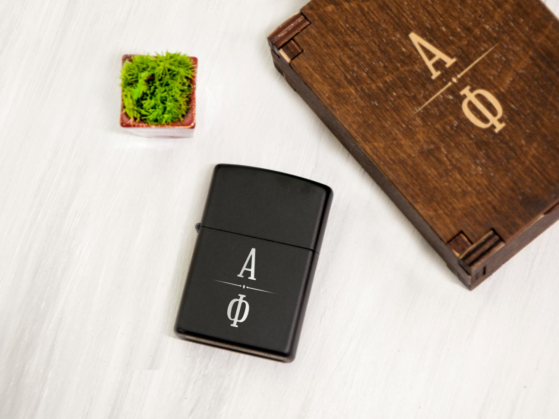 Черная зажигалка Zippo с индивидуальной гравировкой, подарок для мужчины