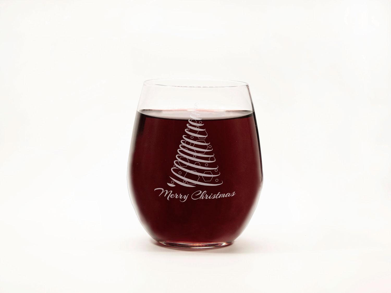 Новогодний стеклянный стакан для вина с надписью «Merry Christmas»