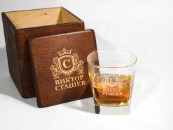 Подарочный стакан для виски с именной гравировкой на заказ