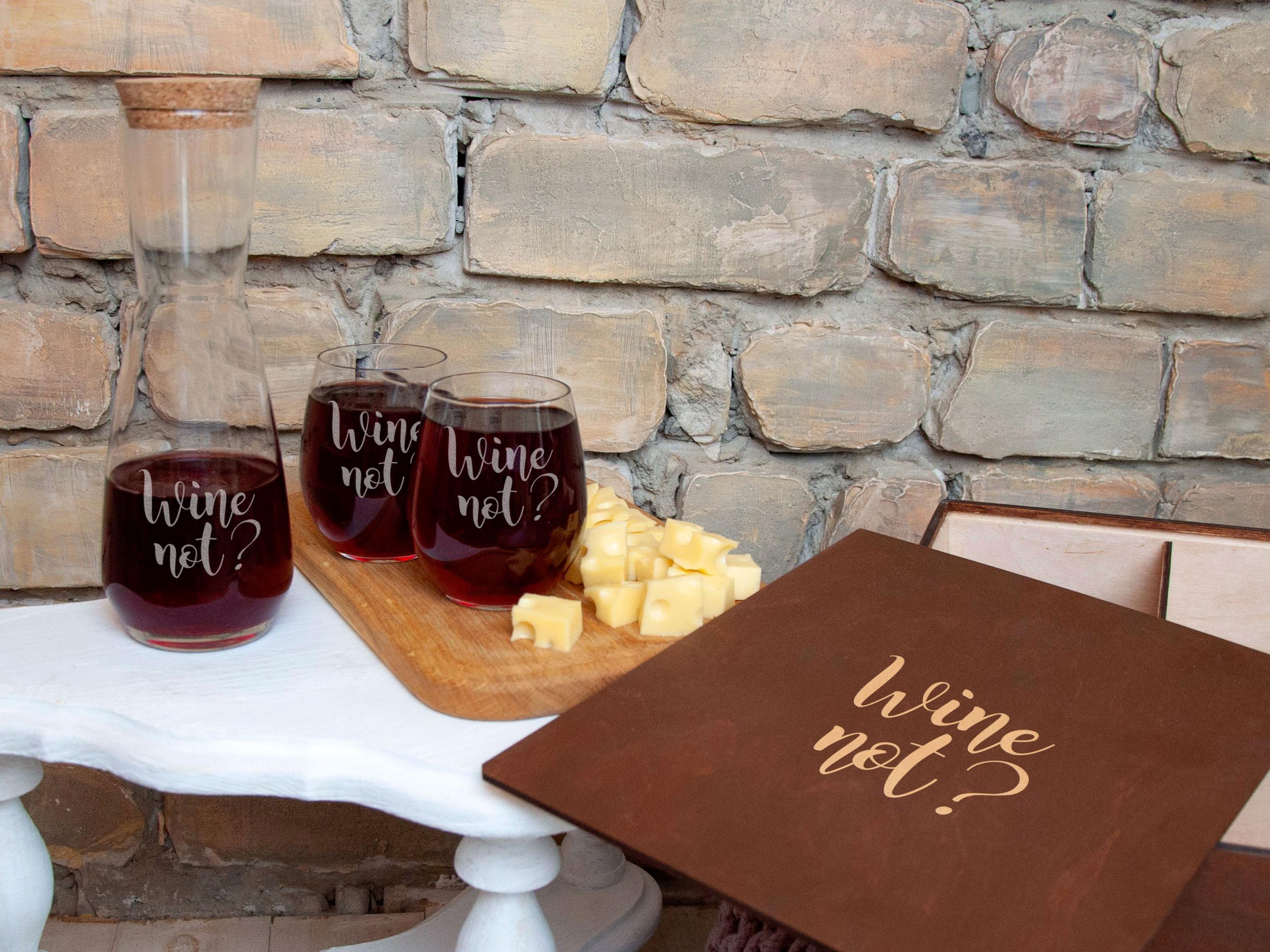 Подарочный стеклянный набор для вина на 2 персоны с гравировкой Wine not?