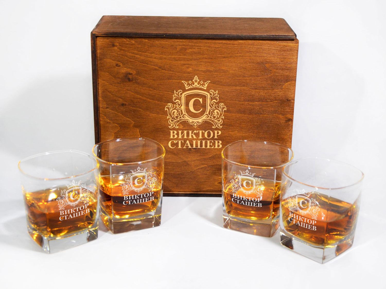 Комплект из 4-х стеклянных стаканов для виски и гравировкой на заказ