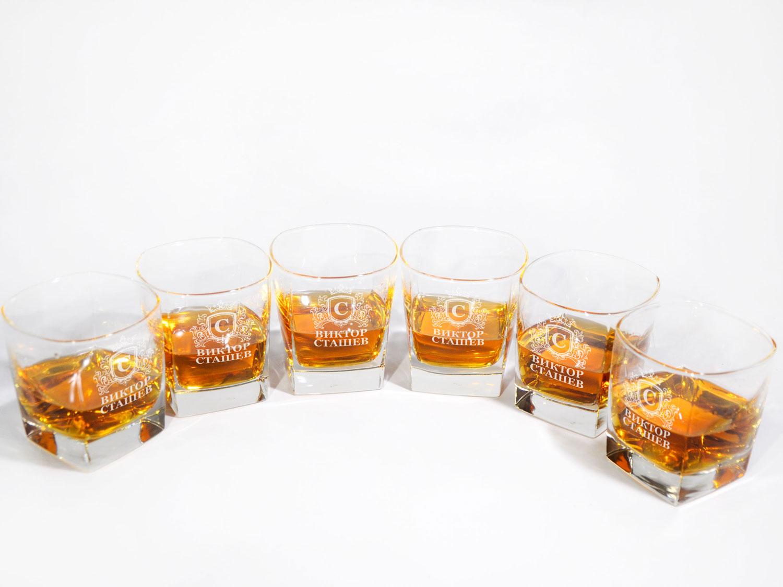 Набор из 6-х стаканов для виски с индивидуальной гравировкой
