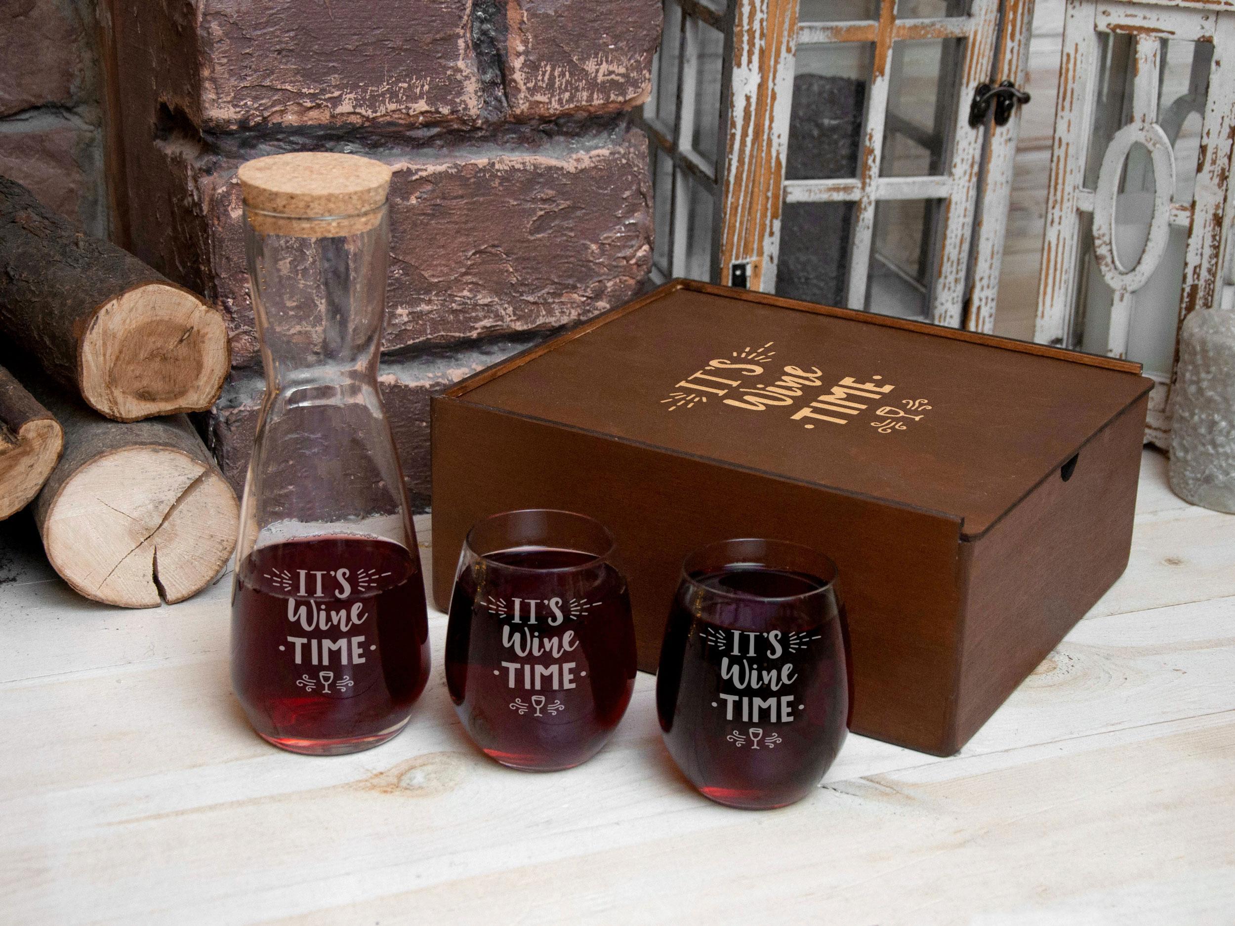 Стеклянный набор графин и стаканы для вина с лазерной гравировкой в подарок