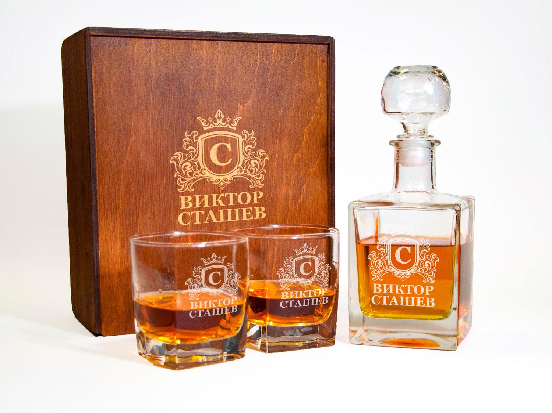Подарочный набор из графина и двух стаканов с именной гравировкой