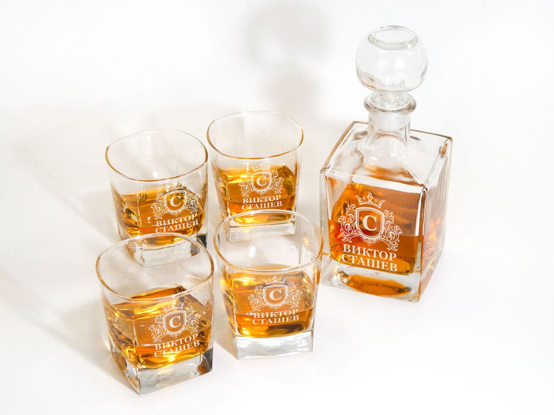 Уникальный комплект из графина и 4-х стаканов для виски на подарок